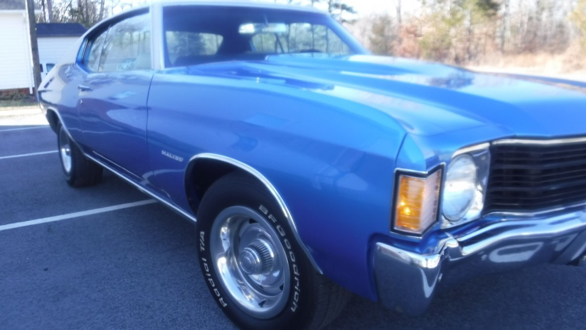 1972 CHEVROLET CHEVELLE SPORT COUPE 430HP, AUTO MULSANNE BLUE 430 HP CRATE MOTOR, AUTO, 342 REAR in Milford, OH