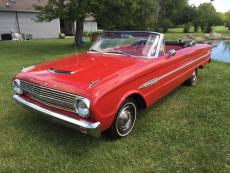 1963 FORD FALCON CONVERTIBLE 6 CYL, CONVERTIBLE RED / RED