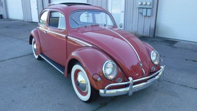 1957 VOLKSWAGEN BEETLE SUN SHADE TURN SIGNALS RARE CORAL RED FINISH - Photo