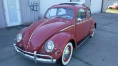 1957 VOLKSWAGEN BEETLE SUN SHADE TURN SIGNALS RARE CORAL RED FINISH